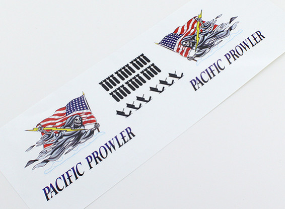"""TD-025 Nose Art - """"PACIFIC PROWLER"""" (Amerikaanse Vlag) L / R Handed Decal"""