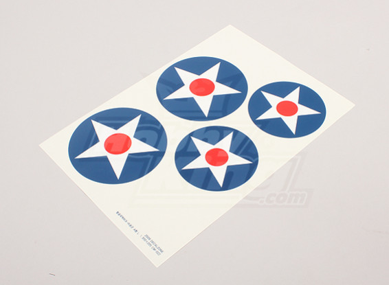 Schaal National Air Force Insignia stickervel - USA (grote type A)