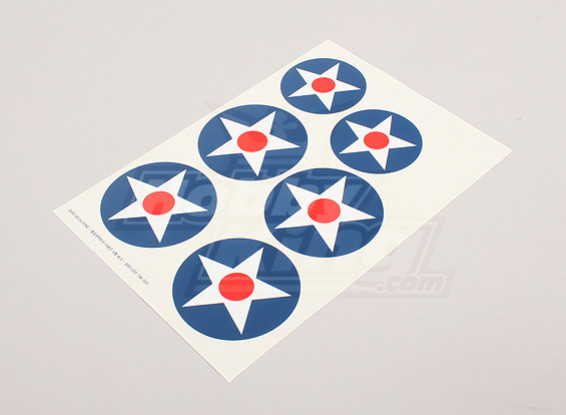 Schaal National Air Force Insignia stickervel - USA (Type A)