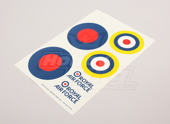 Schaal National Air Force Insignia stickervel - UK (grote type B)