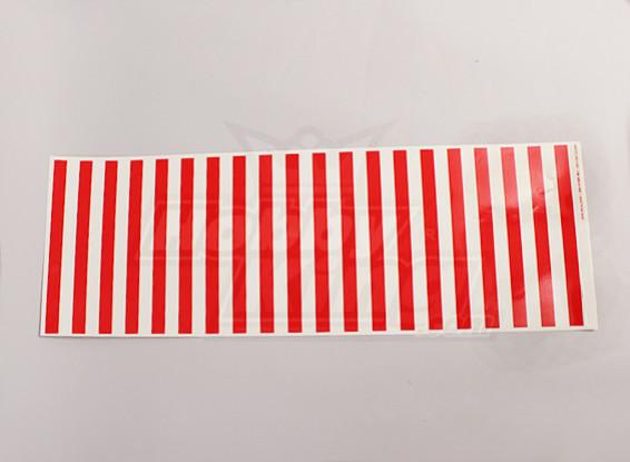 Stickervel Streeppatroon Rood / Clear 590mmx200mm