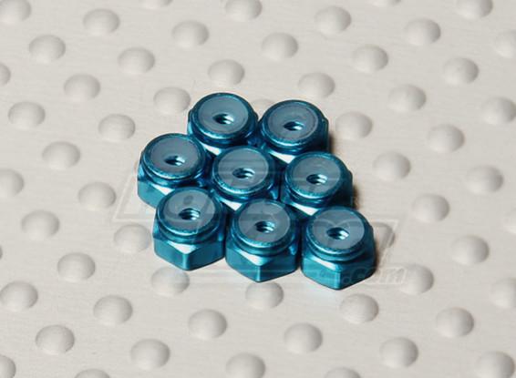 Blauw geanodiseerd aluminium M2 Nylock Nuts (8 stuks)