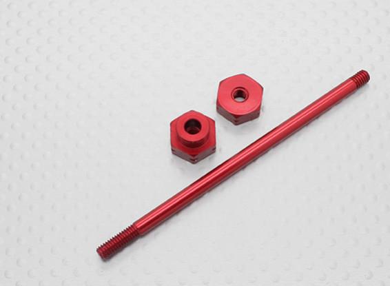 10/01 Schaal Aluminium Wiel Carrier 12mm - Rood