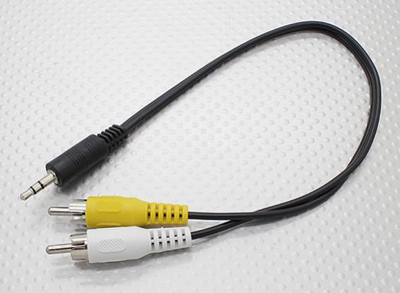 3.5mm naar Male Mono RCA A / V-pluggen Adaptor Lead (300mm)