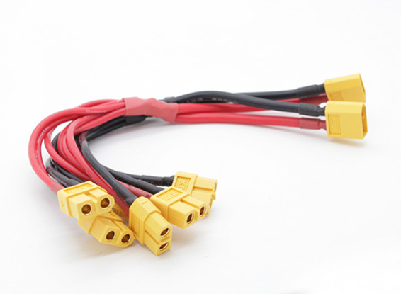 XT60 Harnas met 2 mannelijke en 6 vrouwelijke A-aansluitingen 12AWG Wire (1 st)