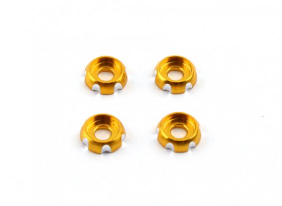 Aluminium 3mm CNC Roundhead Washer - Gold (4 stuks)