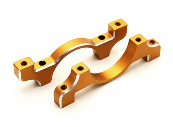 Goud geanodiseerd CNC aluminium buis Clamp 22mm Diameter
