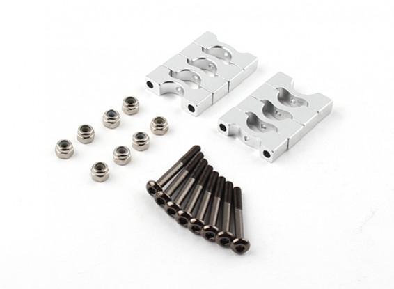 Zilver geanodiseerd CNC Super Light Alloy Tube Clamp 8mm Diameter (4 stuks)
