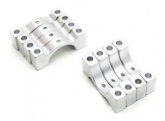 Zilver geanodiseerd CNC halve cirkel legering buis klem (incl. Bouten en moeren) 14mm