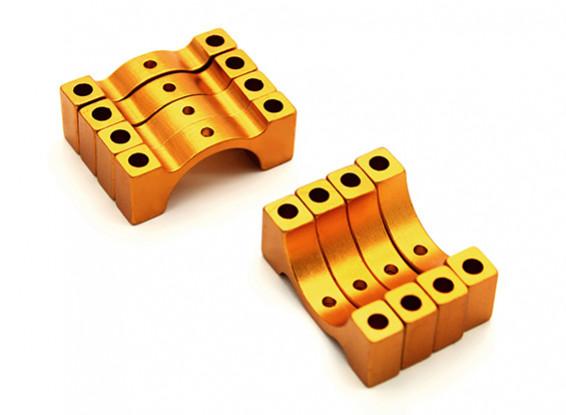 Goud geanodiseerd CNC halve cirkel legering buis klem (incl. Bouten en moeren) 14mm