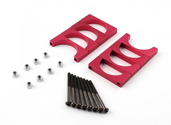 Red geanodiseerd Dubbelzijdig CNC Aluminium Tube Clamp 25mm Diameter