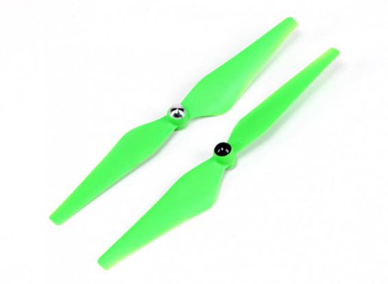 Hobbyking ™ Self Aanscherping Propeller 9x4.5 Green (CW / CCW) (2 stuks)