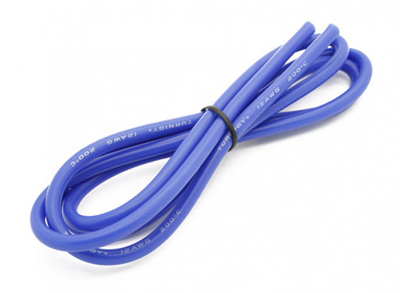 Turnigy Hoge kwaliteit 12AWG Silicone Wire 1m (blauw)