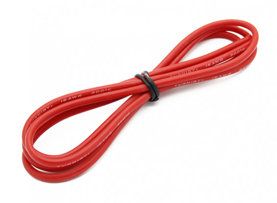 Turnigy Hoge kwaliteit 16AWG Silicone Wire 1m (Rood)