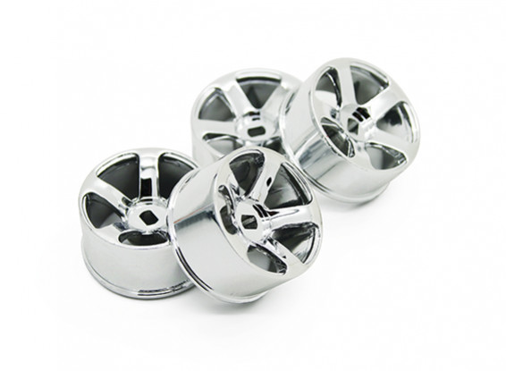 5 Spoke Chrome Rim Set (F / R) - Turnigy TZ4 AWD / Drift Spec