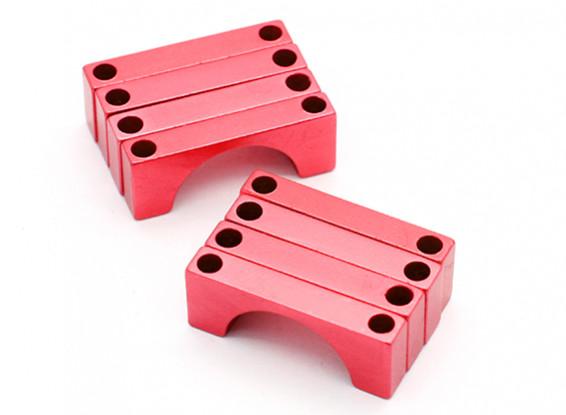 Red geanodiseerd CNC Halve cirkel Alloy Tube Clamp (incl.screws) 25mm