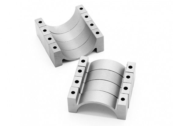 Zilver geanodiseerd CNC Halve cirkel Alloy Tube Clamp (incl.screws) 28mm