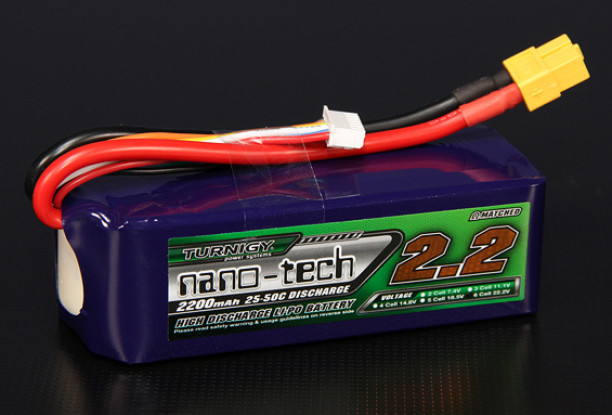 Turnigy nano-tech 2200mAh 6S 25 Pack Lipo ~ 50C