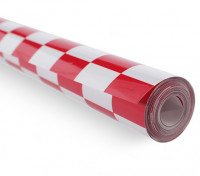 Covering Film Chequer-work Rood / Wit Kleine (20mm) Squares (5mtr)