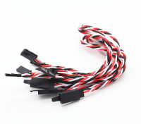 Twisted 30cm Servo Lead Extention (Futaba) met haak 22AWG (5pcs / bag)