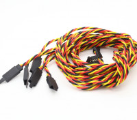 Twisted 100cm Servo Lead Extention (JR) met haak 22AWG (5pcs / bag)