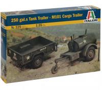 Italeri 1:35 Schaal 250 Gallon Tank Trailer - M101 Cargo Trailer Model Kit