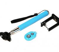 Monopole Action Cam Extension (selfie Stick) met Bluetooth Remote Shutter control - Blue