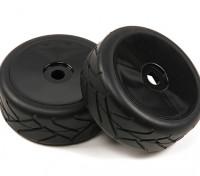 1/8 Scale Black Pro Dish Wheels Met Semi Slick Style Tires (2pc)
