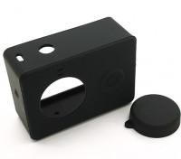 Silicone beschermhoes en lensdop voor Xiaoyi Action Camera (Zwart)