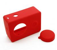 Silicone beschermhoes en lensdop voor Xiaoyi Action Camera (Red)