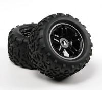 HobbyKing ® ™ 1/8 Crawler 155mm Wheel & Tire (Black Rim) (2 stuks)