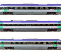 Southern Rail HO Scale VLocity VL24 V-Line DMU Rail Car Set DCC and Sound Ready (Mauve/Green/Yellow)
