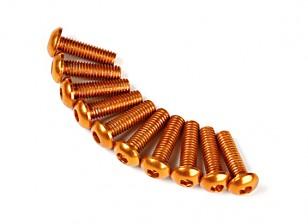 7075 Alu. M3 Bolkopschroeven 10mm goud