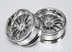 01:10 Scale Wheel Set (2 stuks) Chroom Split 6-Spoke RC Car 26mm (3mm Offset)