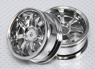 01:10 Schaal Wheel Set (2 stuks) Chrome 7-Spoke RC Car 26mm (3mm offset)