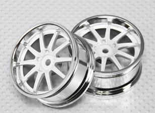 01:10 Scale Wheel Set (2 stuks) Chrome / White 10-Spoke RC Car 26mm (3mm Offset)