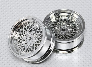 01:10 Scale Wheel Set (2 stuks) Chrome 'Hot Wire' RC Car 26mm (No Offset)