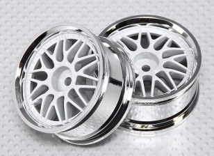 01:10 Schaal Wheel Set (2 stuks) Wit / Chroom Split 10-Spoke RC Car 26mm (geen offset)