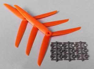 HobbyKing ™ 3-Blade Propeller 7x3.5 Orange (CW) (3 stuks)