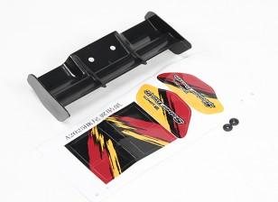 Achtervleugel w / afstandhouder, sticker - Basher SaberTooth 1/8 Scale Truggy