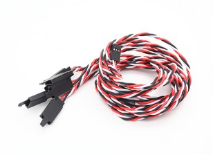 Twisted 60cm Servo Lead Extention (Futaba) met haak 22AWG (5pcs / bag)