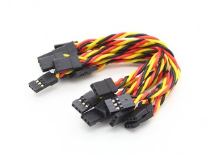 Twisted 10CM Male naar Male Servo Lead (JR) 22AWG (10st / set)