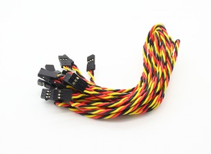 Twisted 30CM Male naar Male Servo Lead (JR) 22AWG (10st / set)