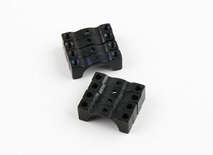 Zwart geanodiseerd Tweezijdige CNC Aluminium Tube Clamp 12mm Diameter