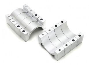Zilver geanodiseerd CNC aluminium buis Clamp 22mm Diameter (set van 4)