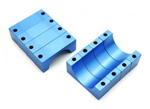 Blauw geanodiseerd CNC 10mm aluminium buis Clamp 20mm Diameter
