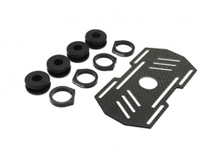 Carbon Multi-Rotor Battery Mount met Rubber Damping Suits 8mm Booms