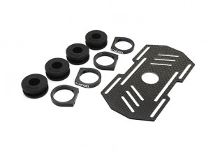 Carbon Multi-Rotor Battery Mount met Rubber Damping Suits 10mm Booms