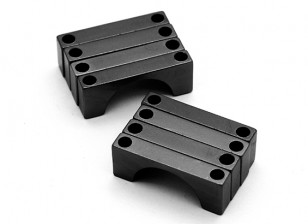 Zwart geanodiseerd Tweezijdige CNC Aluminium Tube Clamp 16mm Diameter