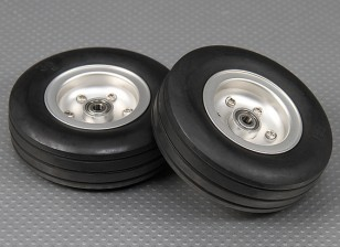Schaal Jet / Warbird lichtmetalen velg 90mm w / Grooved Rubber Band / kogelgelagerde (2pc)